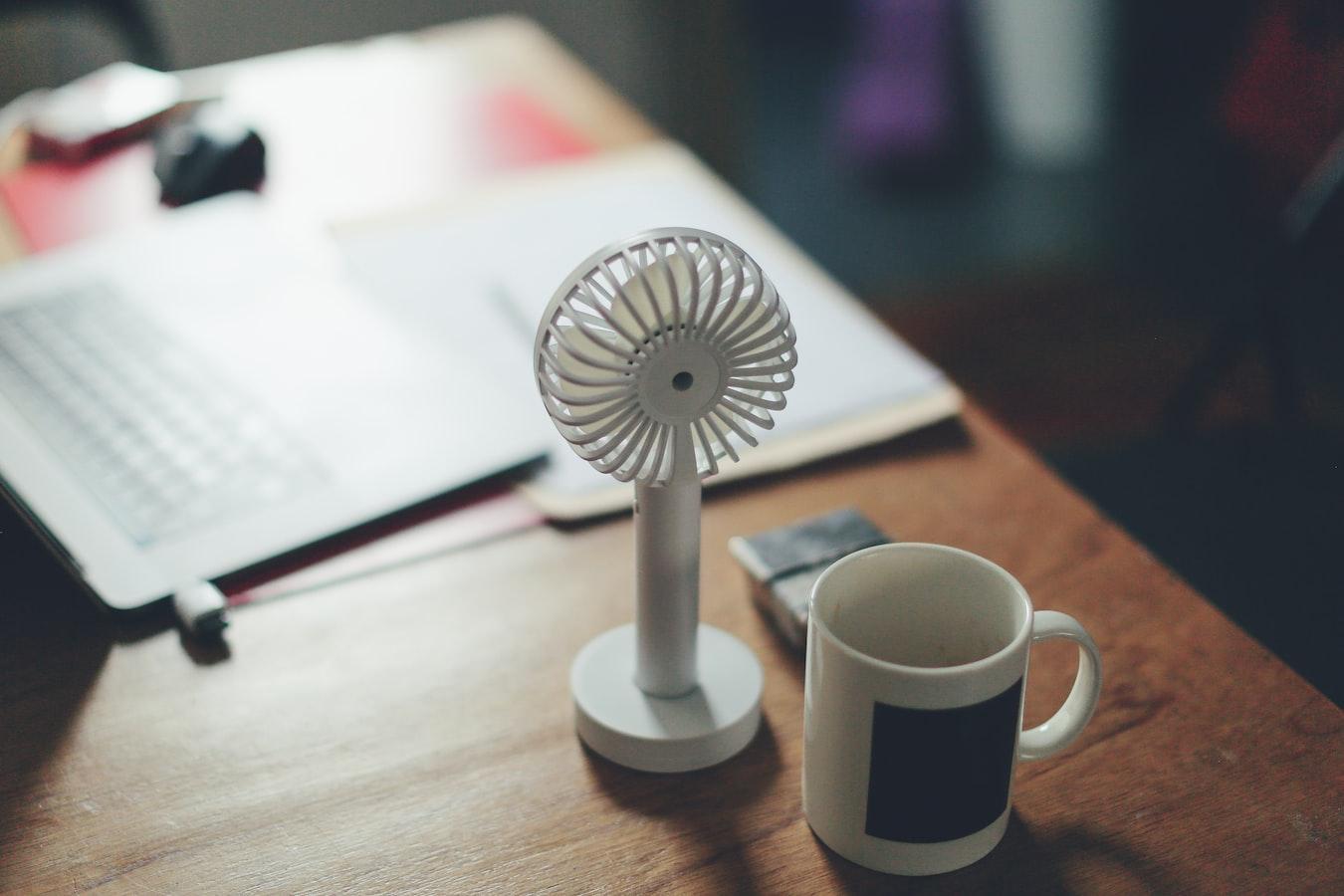 Small fan on a desk