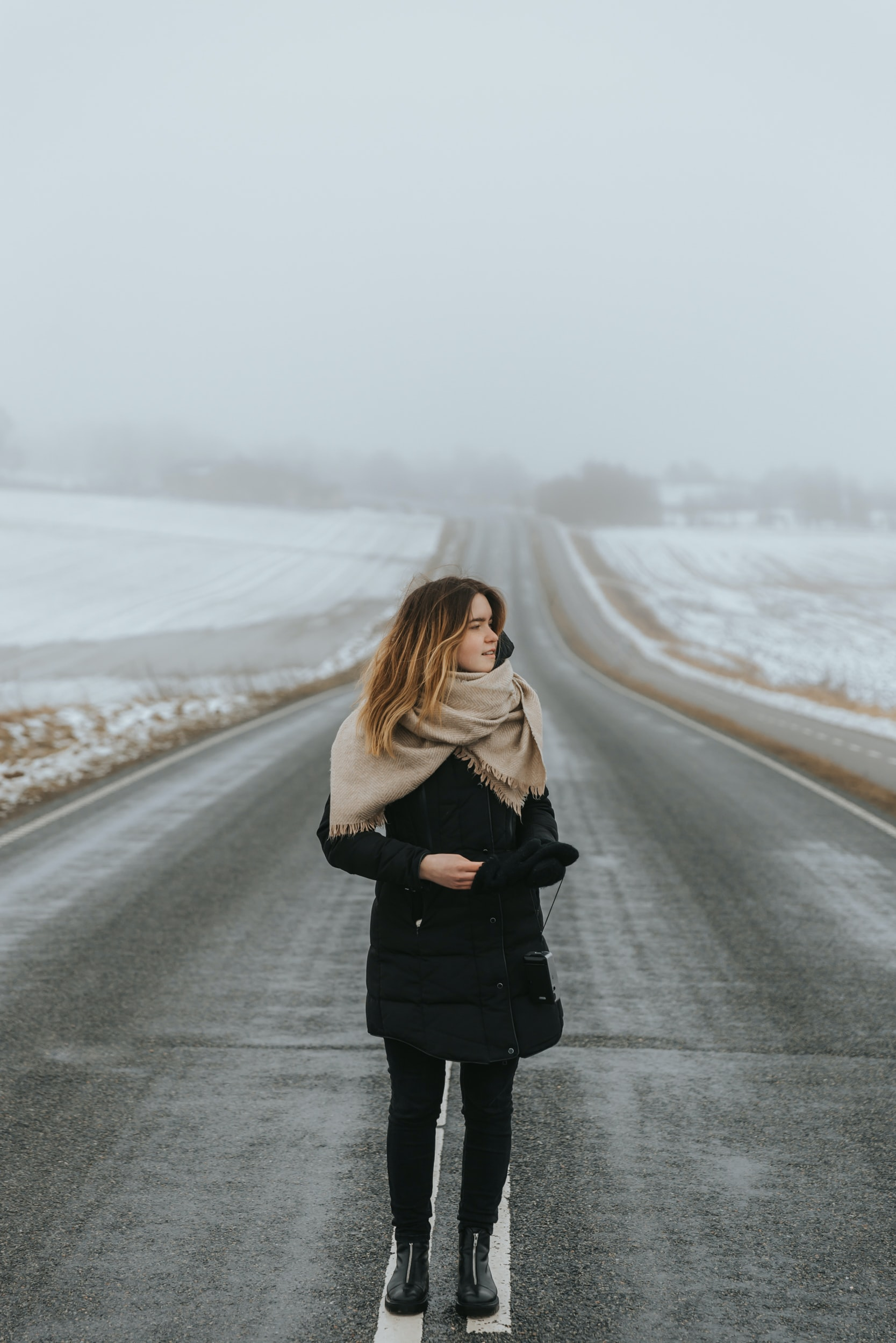 woman standing at road