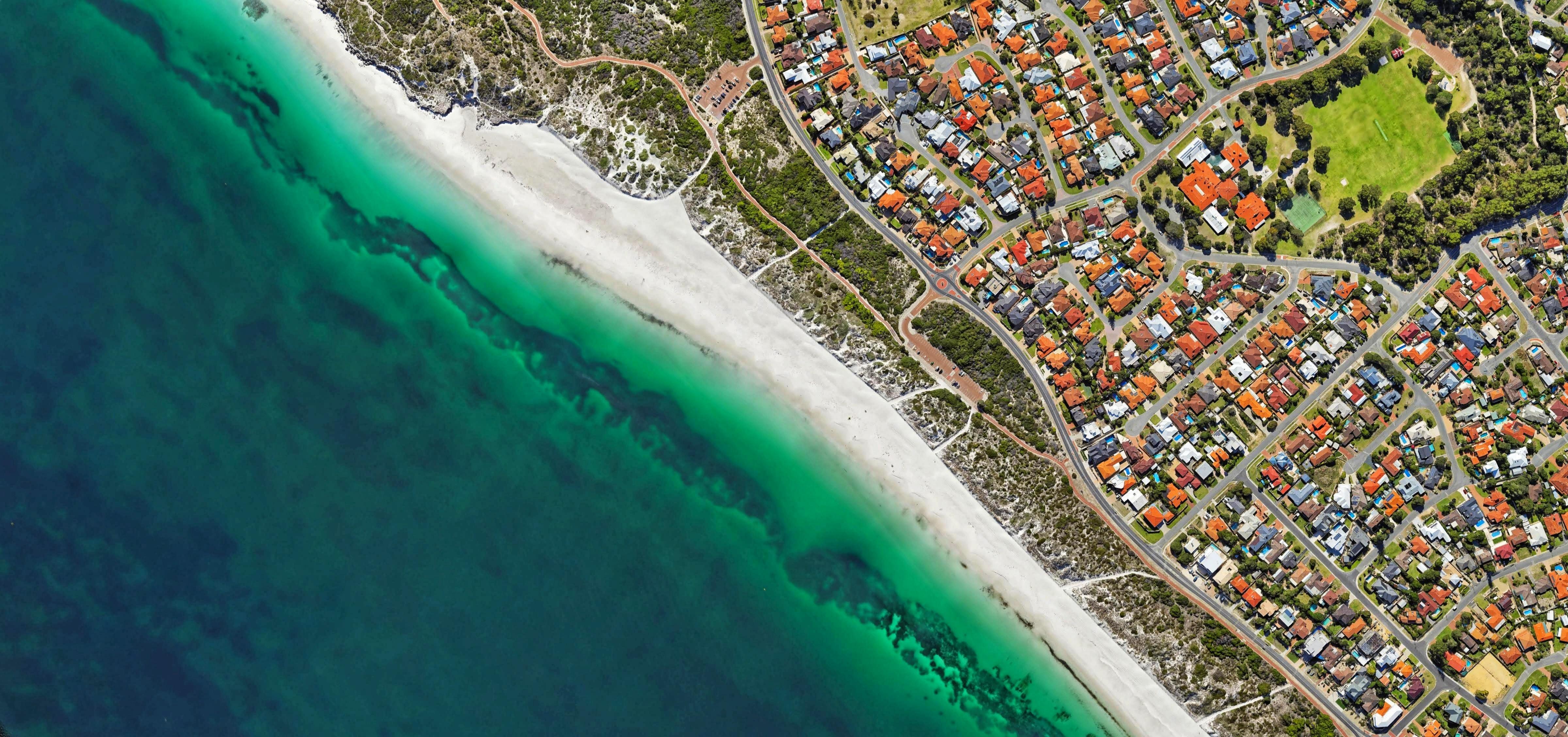 aerial photograph of seashore