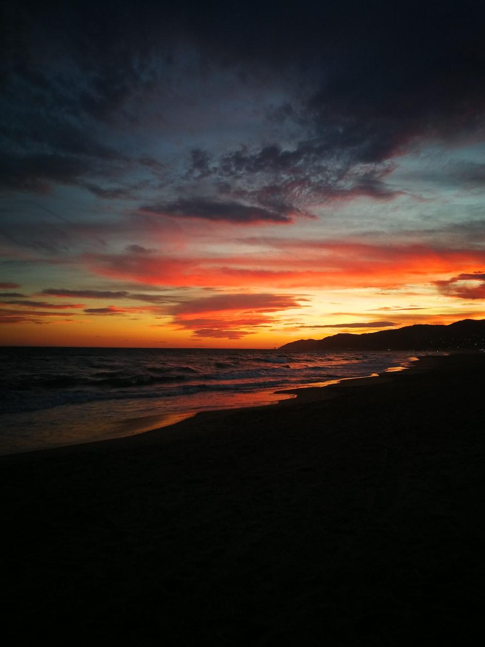 seashore taken during sunset