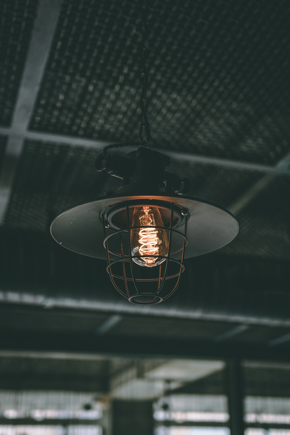 gray lighted pendant lamp