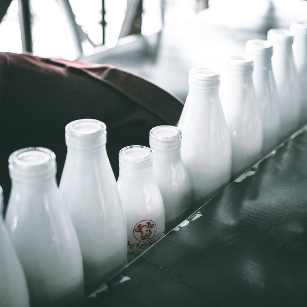 photo of milk bottle lot