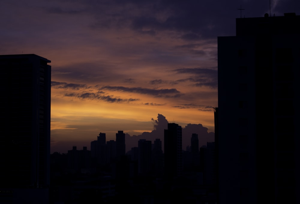 silhouette photo of high rise building under golden hour