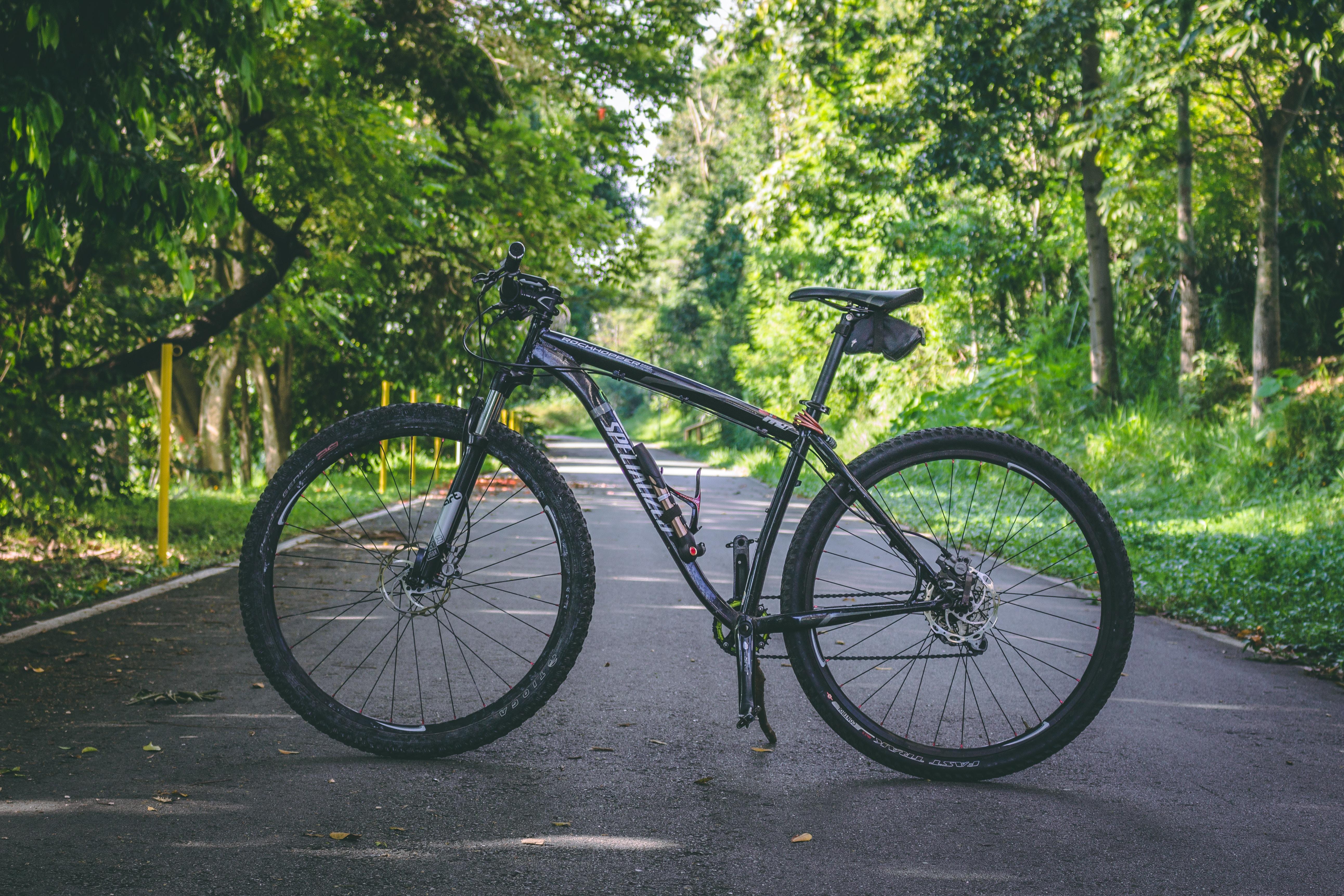 black hardtail bike on road
