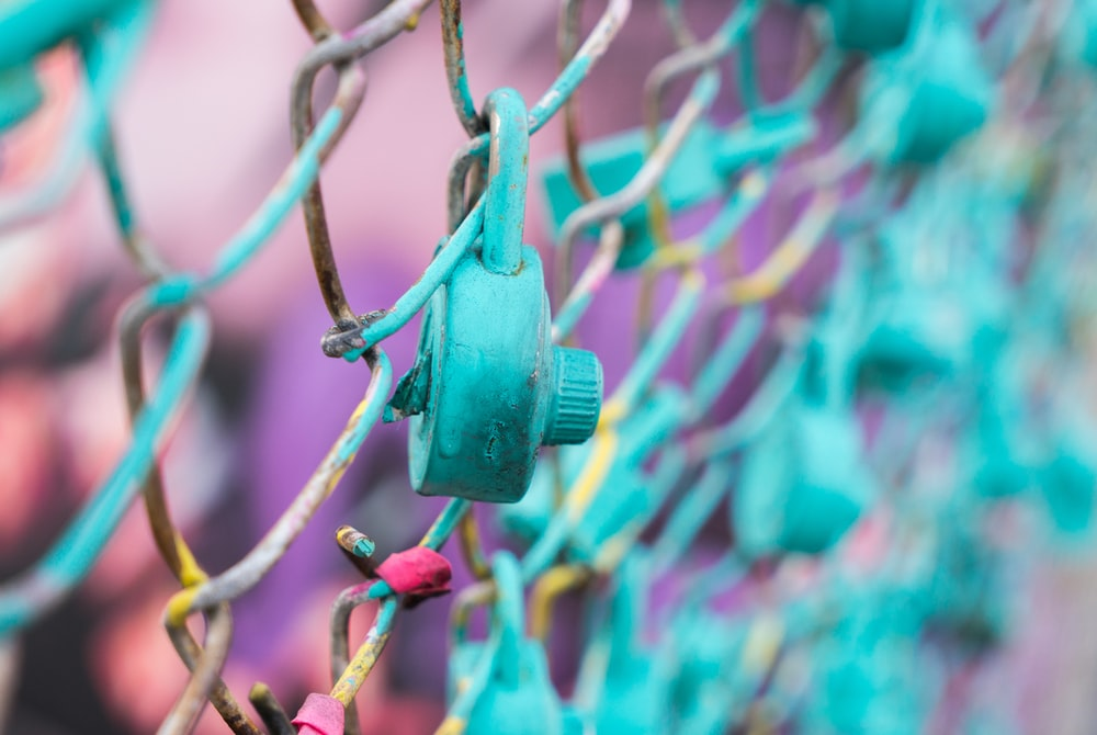 teal padlock on link fence