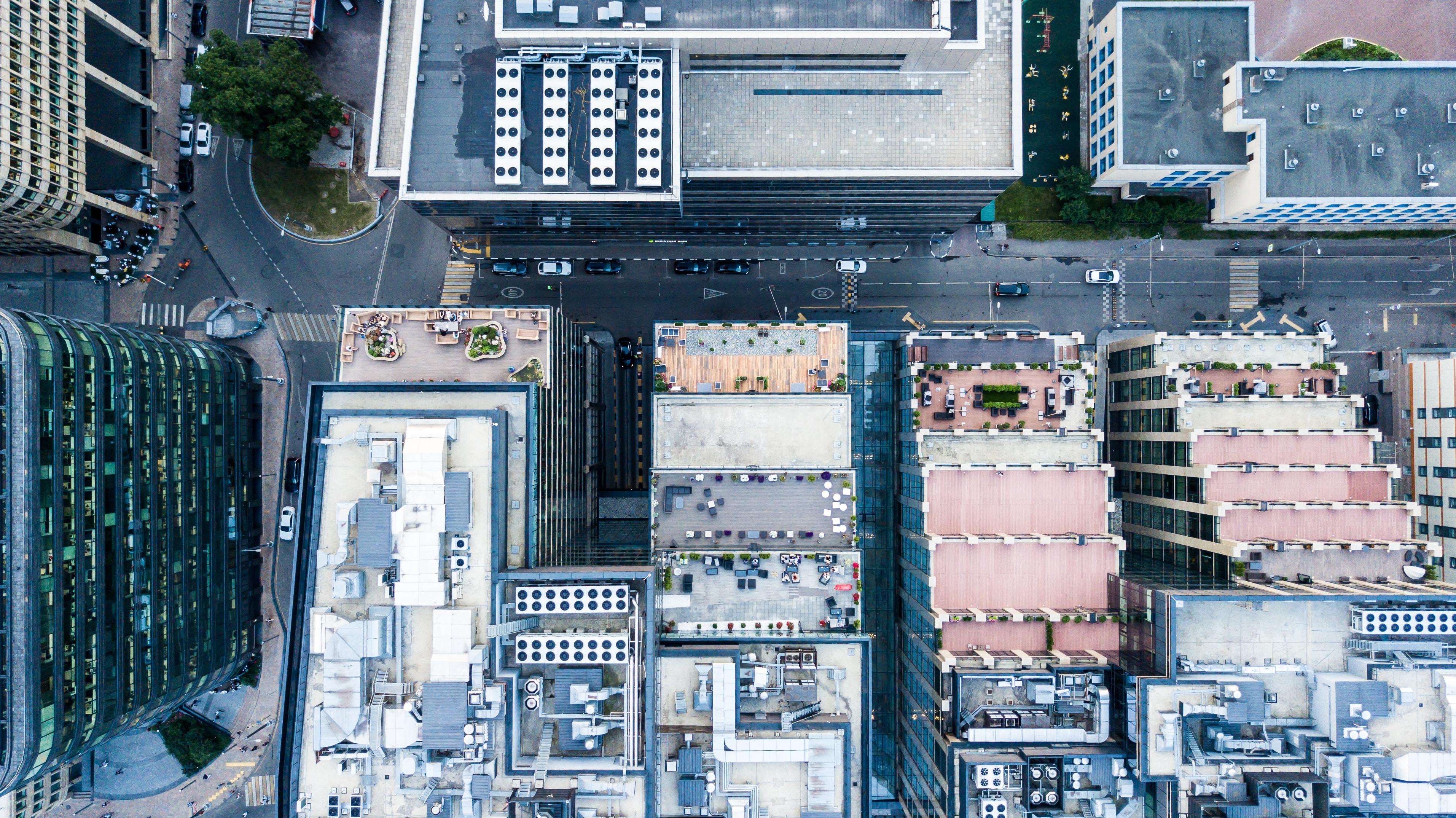aerial shot of building