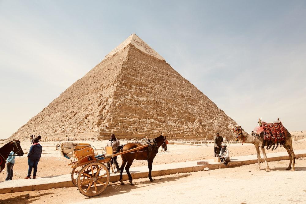 man near pyramid