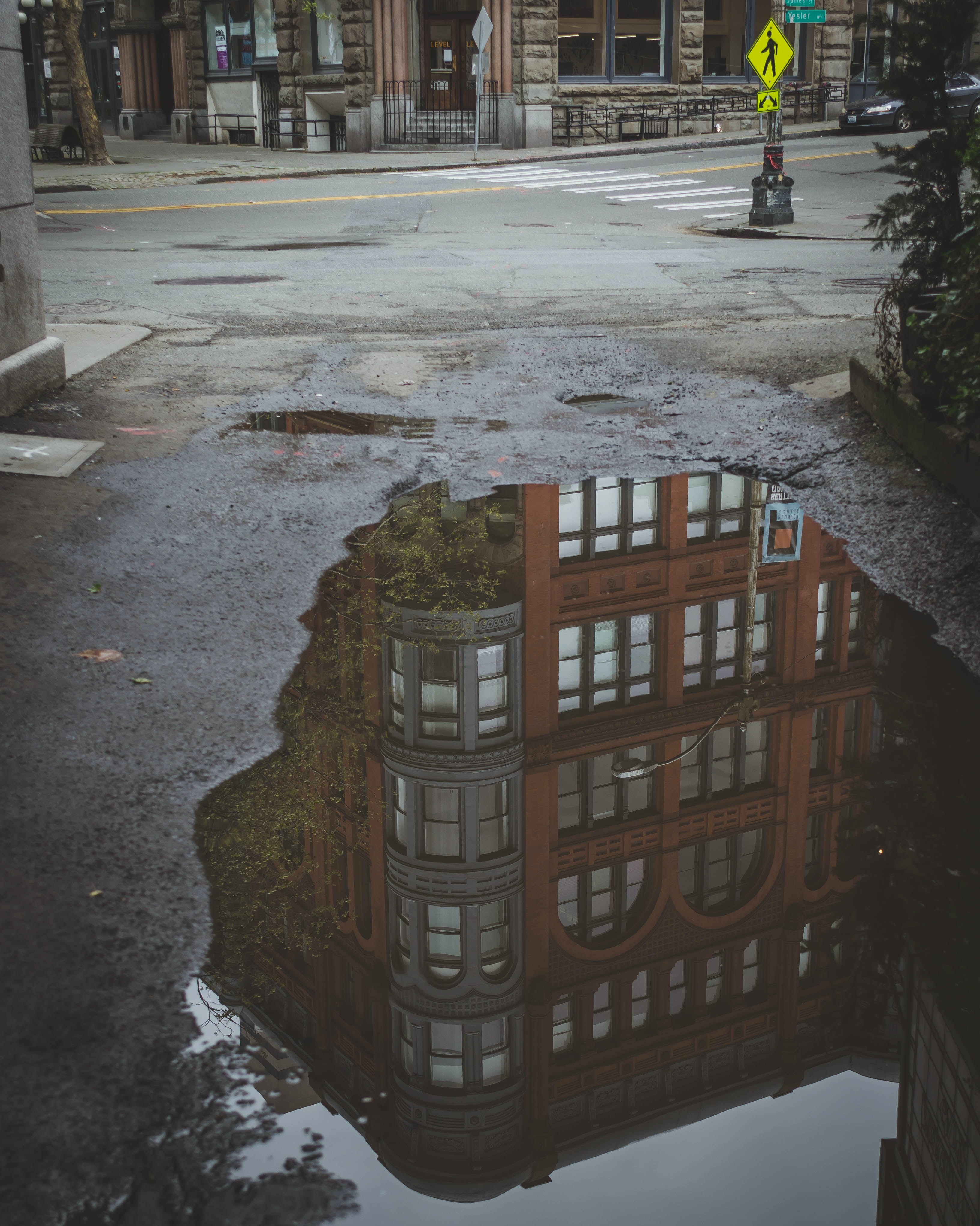 brown concrete building reflects on water