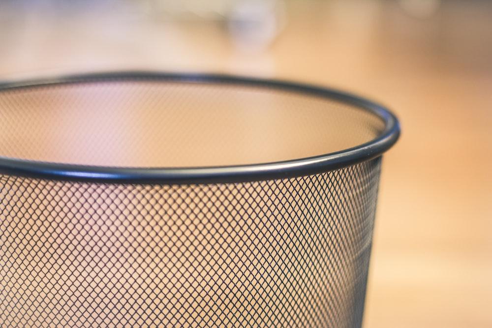 black and white metal mesh basket