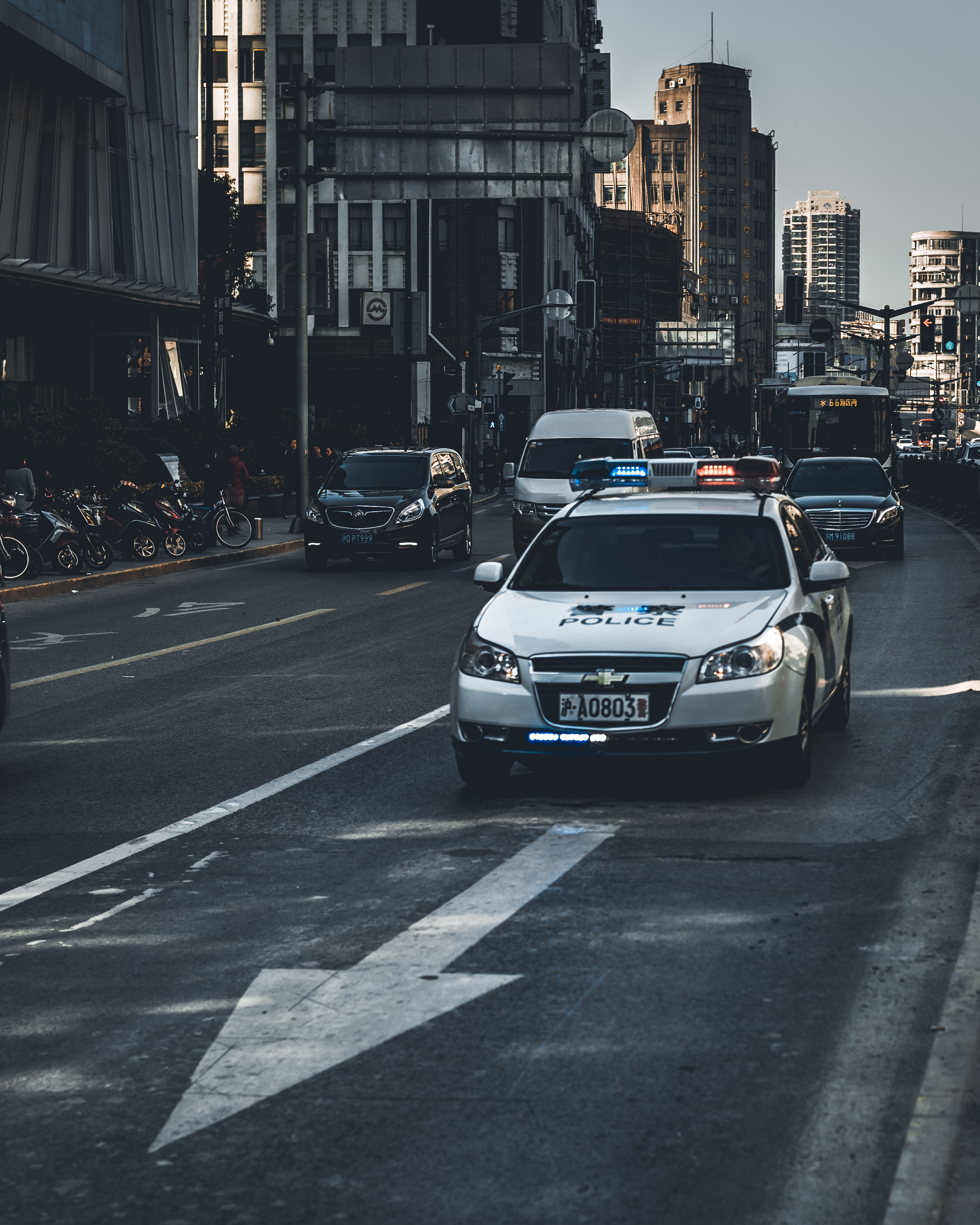 police car on road