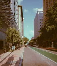 landscape photography of road between high-rise buildings