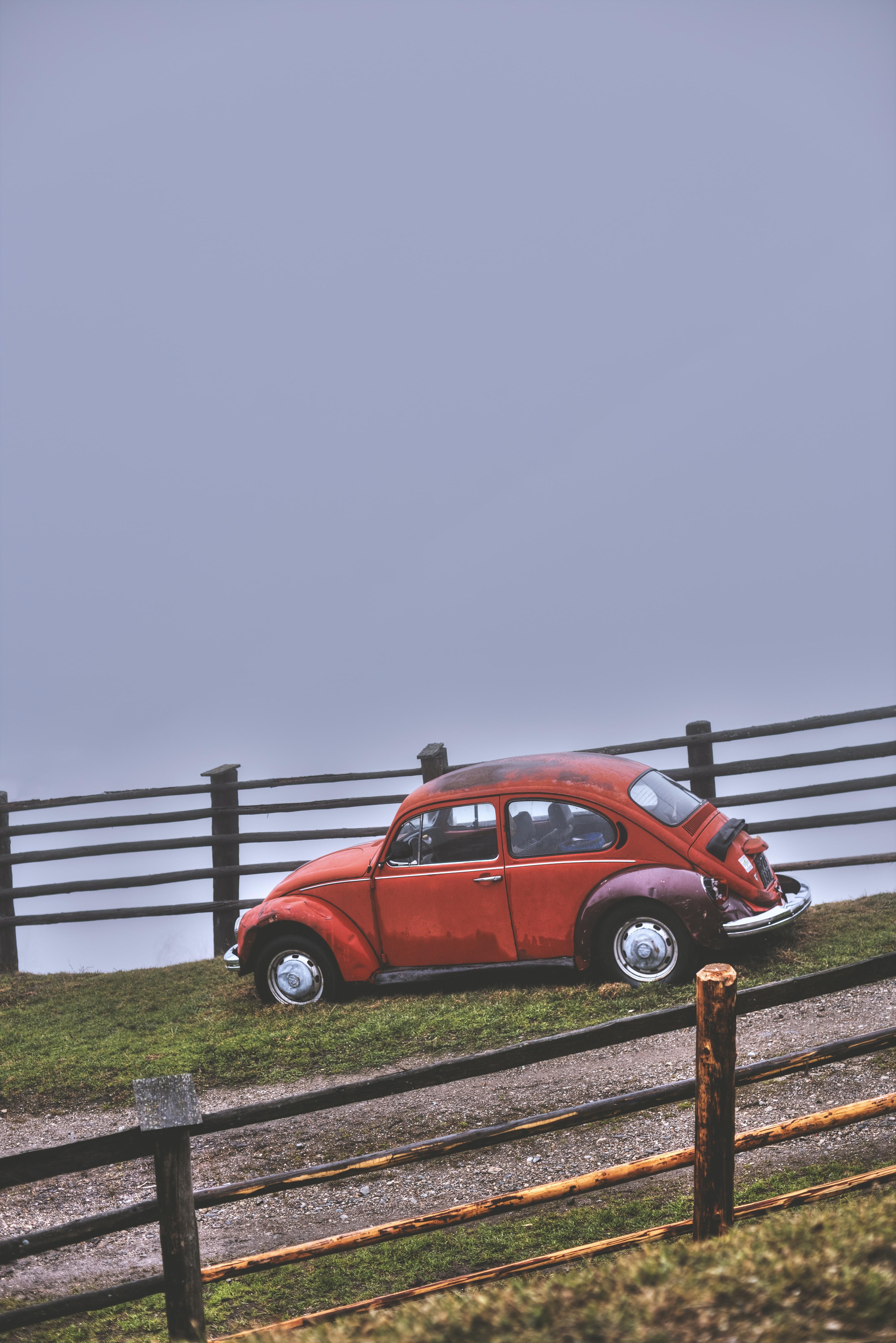 red Volkswagen beetle beside wooden rail