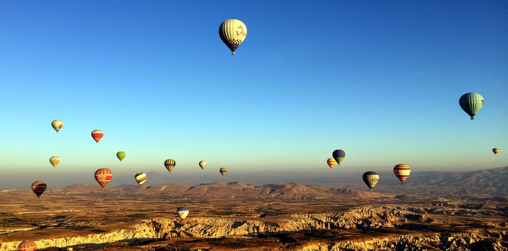 hot air balloons in the the sky