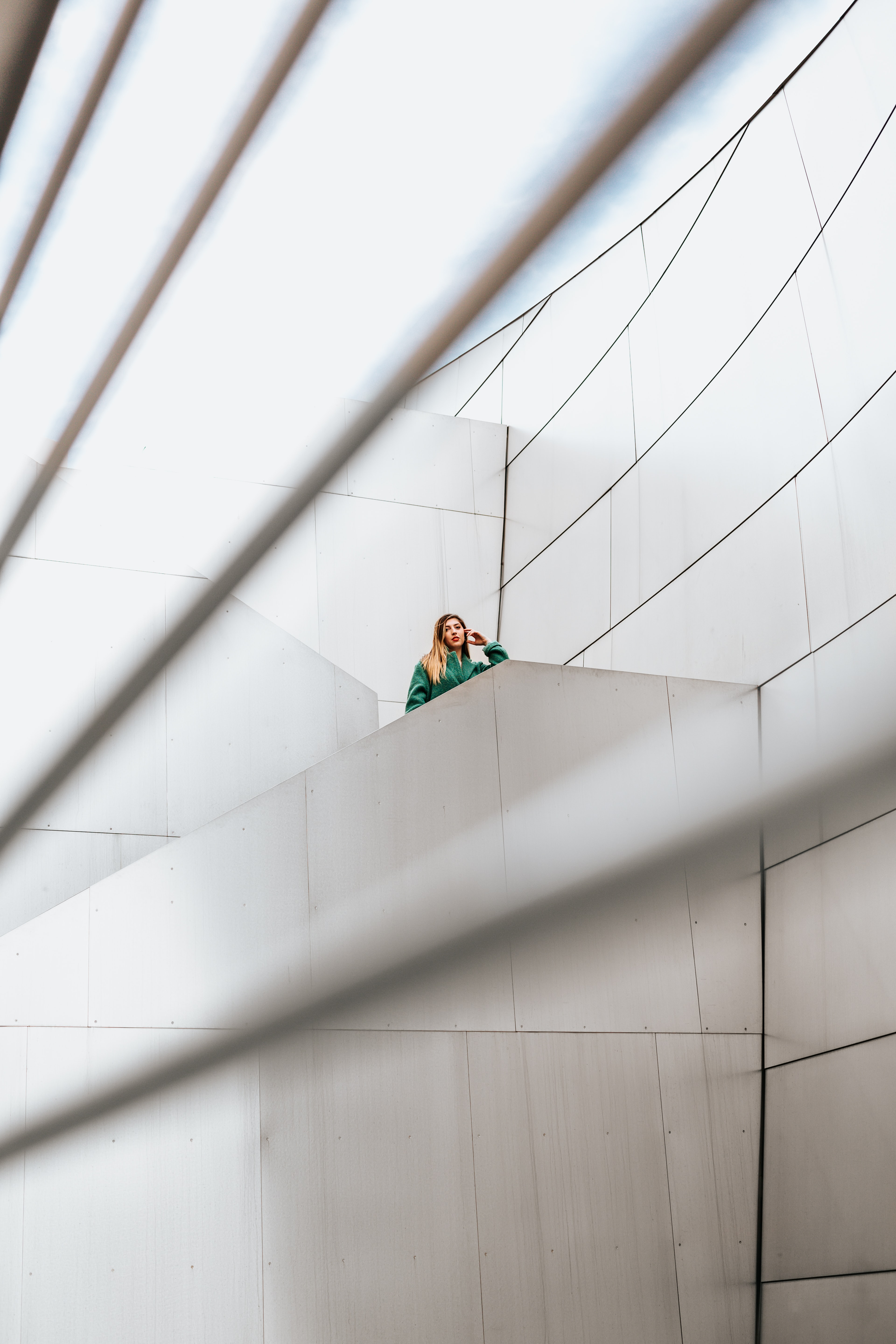 woman standing on stair