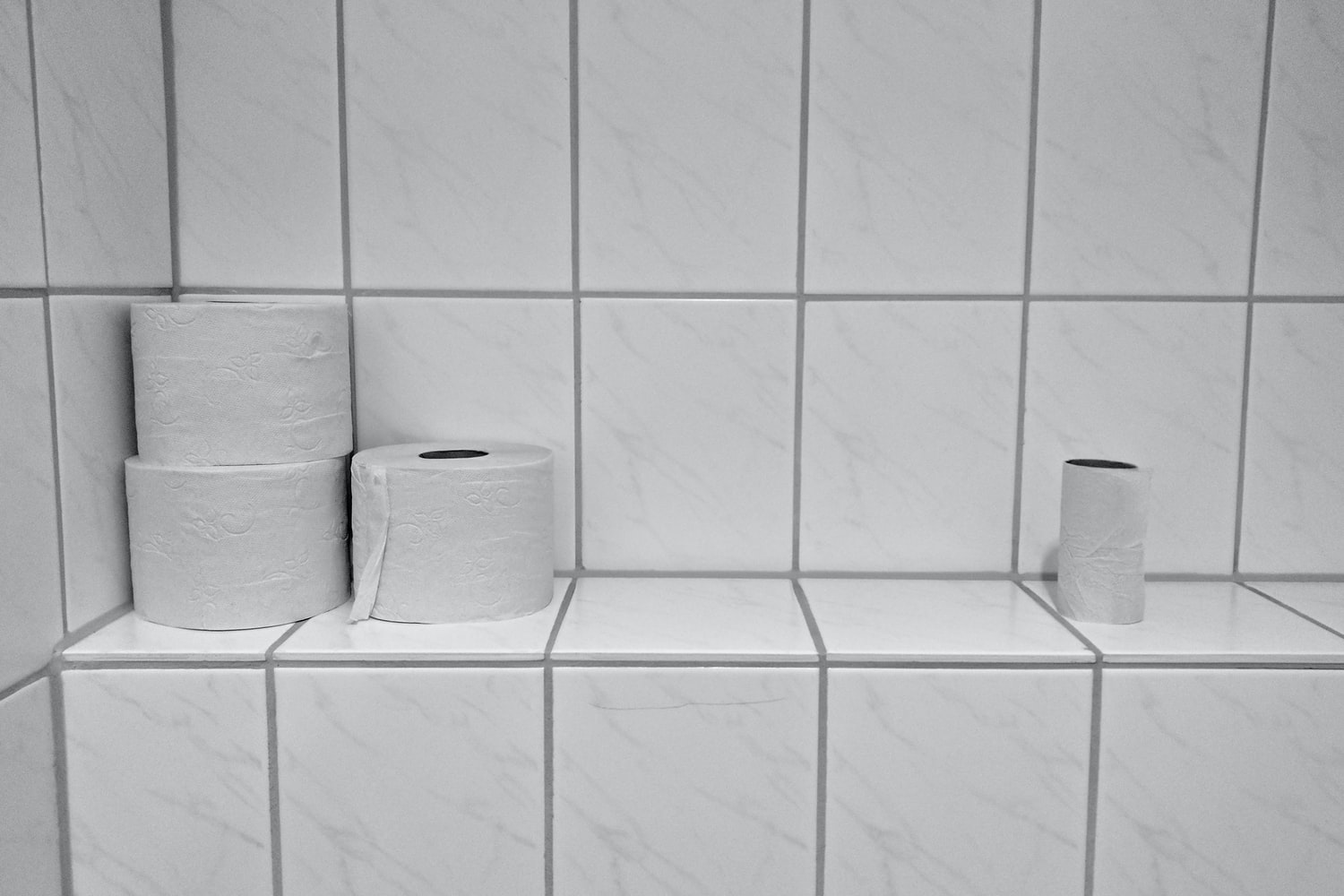 toilet papers placed on a bathroom wall