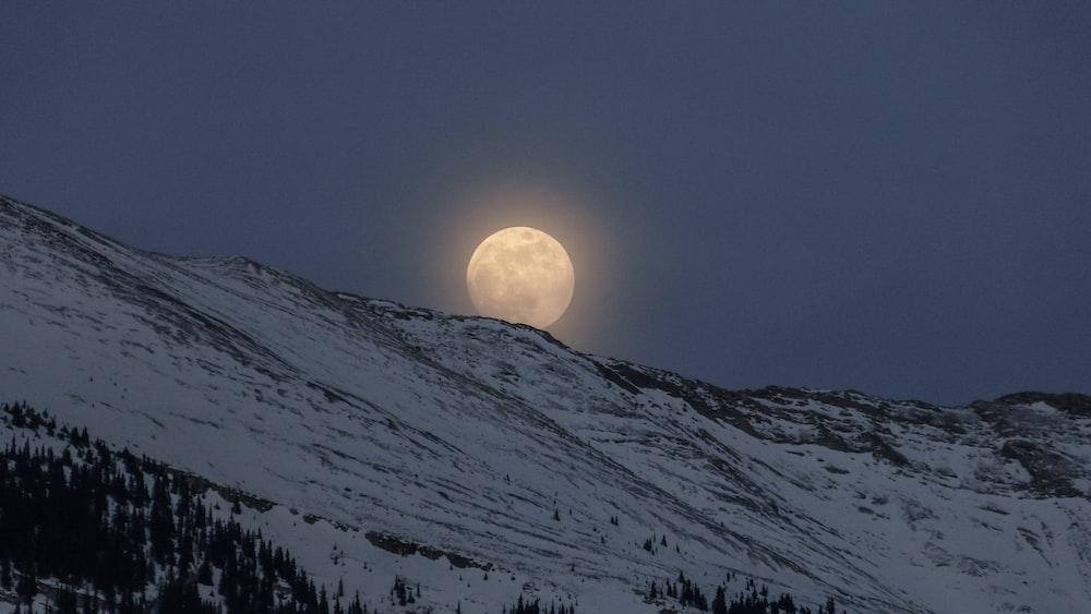mountain alps under full moon