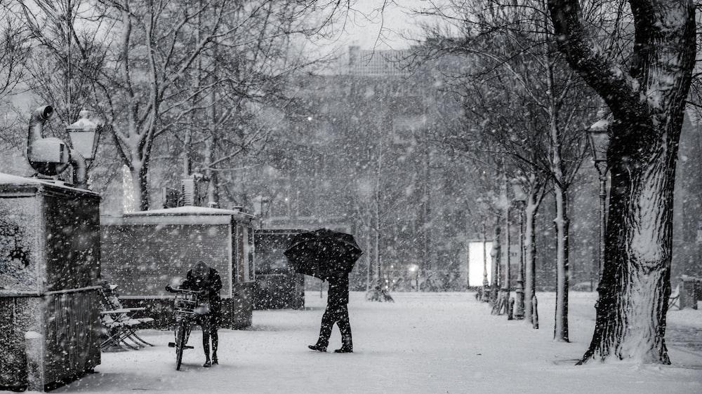 man walking on snowy steert