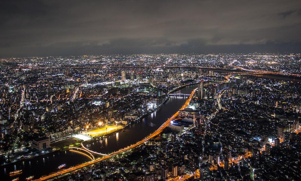 bird's eye view photography of city