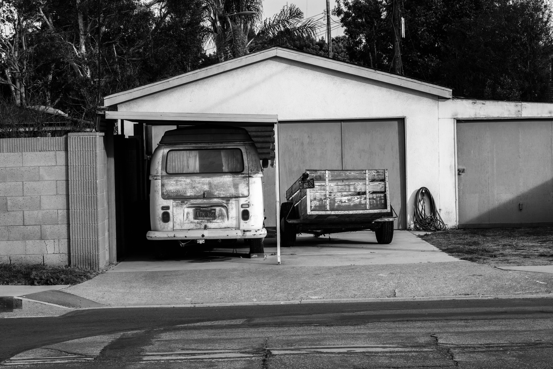 grayscale photo of vehicle