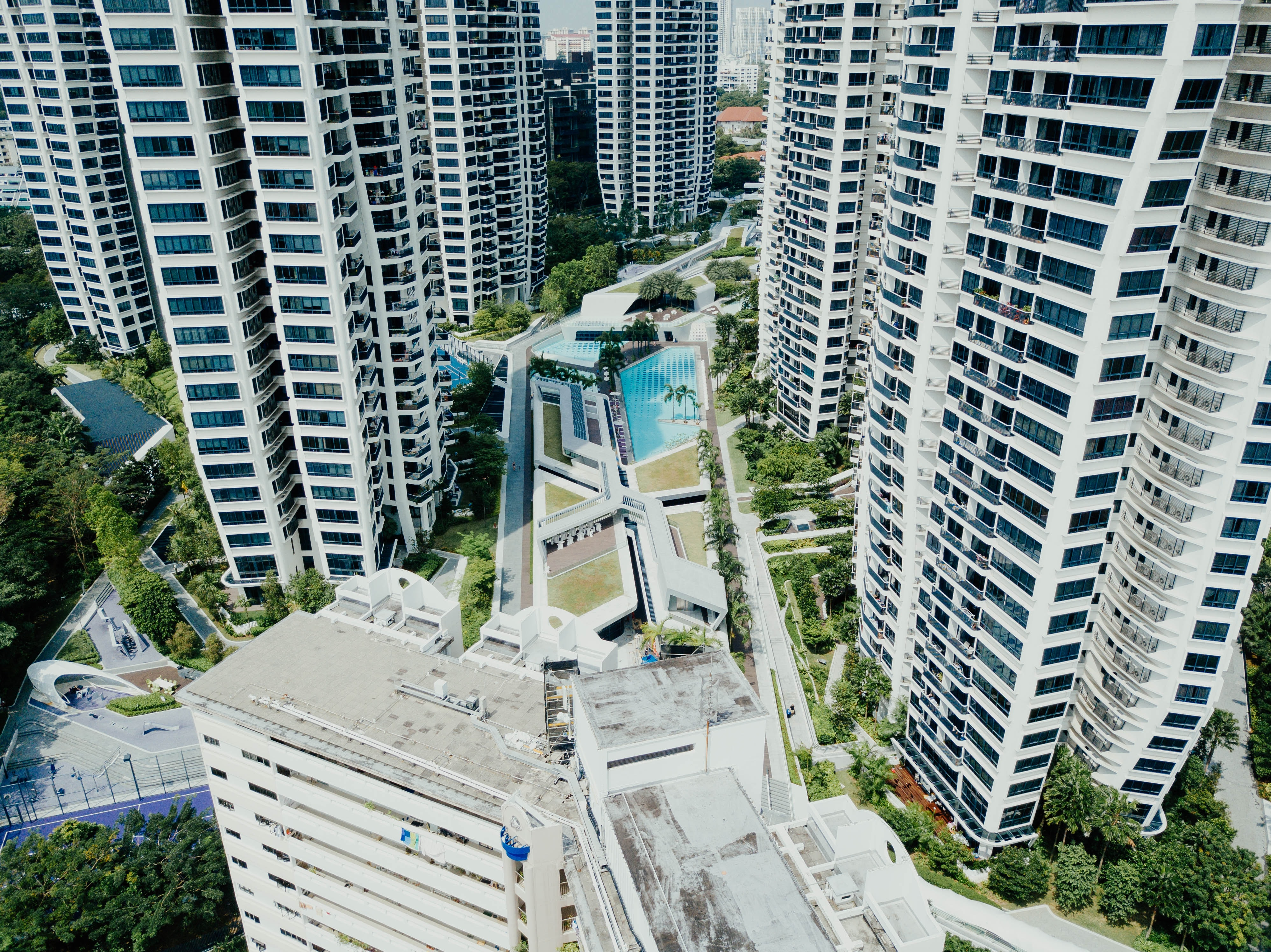 aerial photography of white concrete buildings