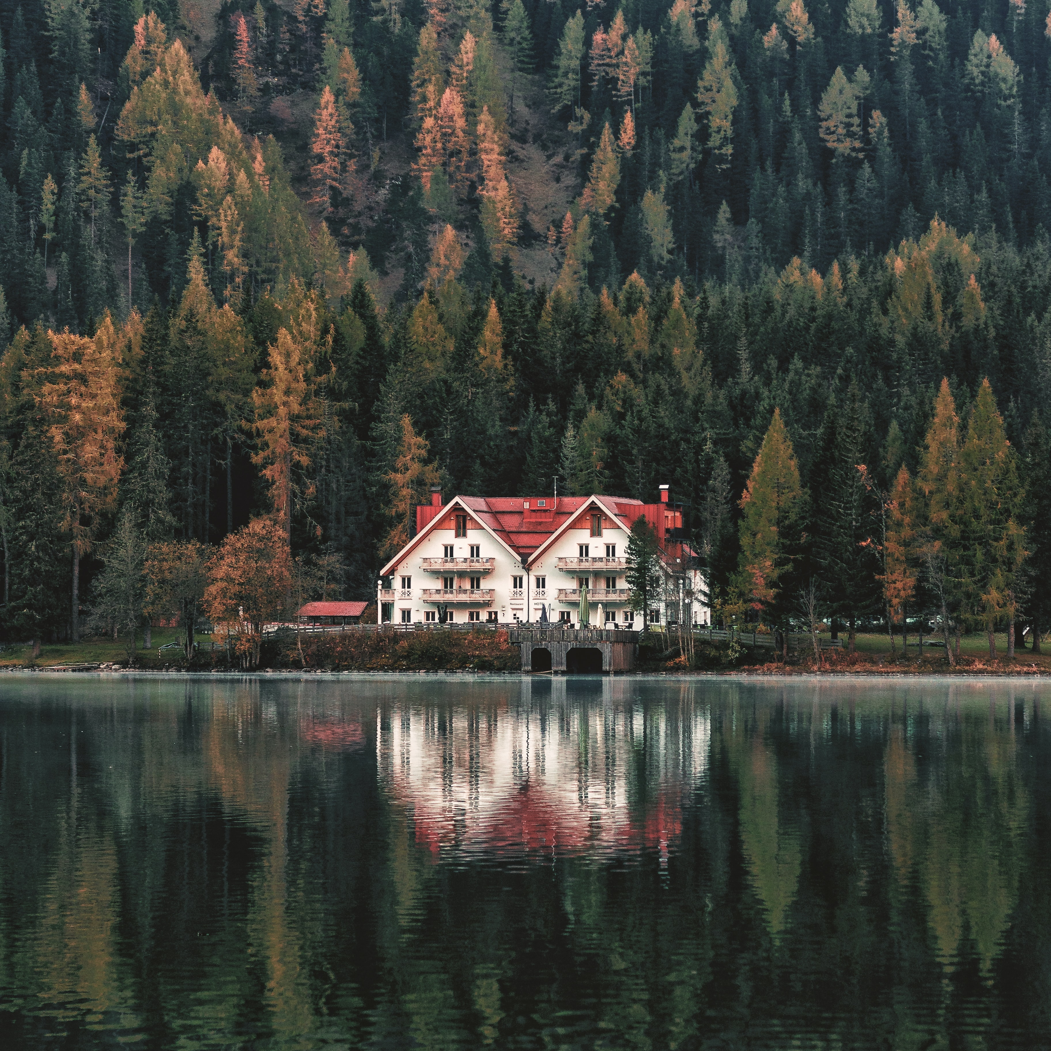 white and red house near lake