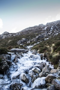 cascading water from mountain top