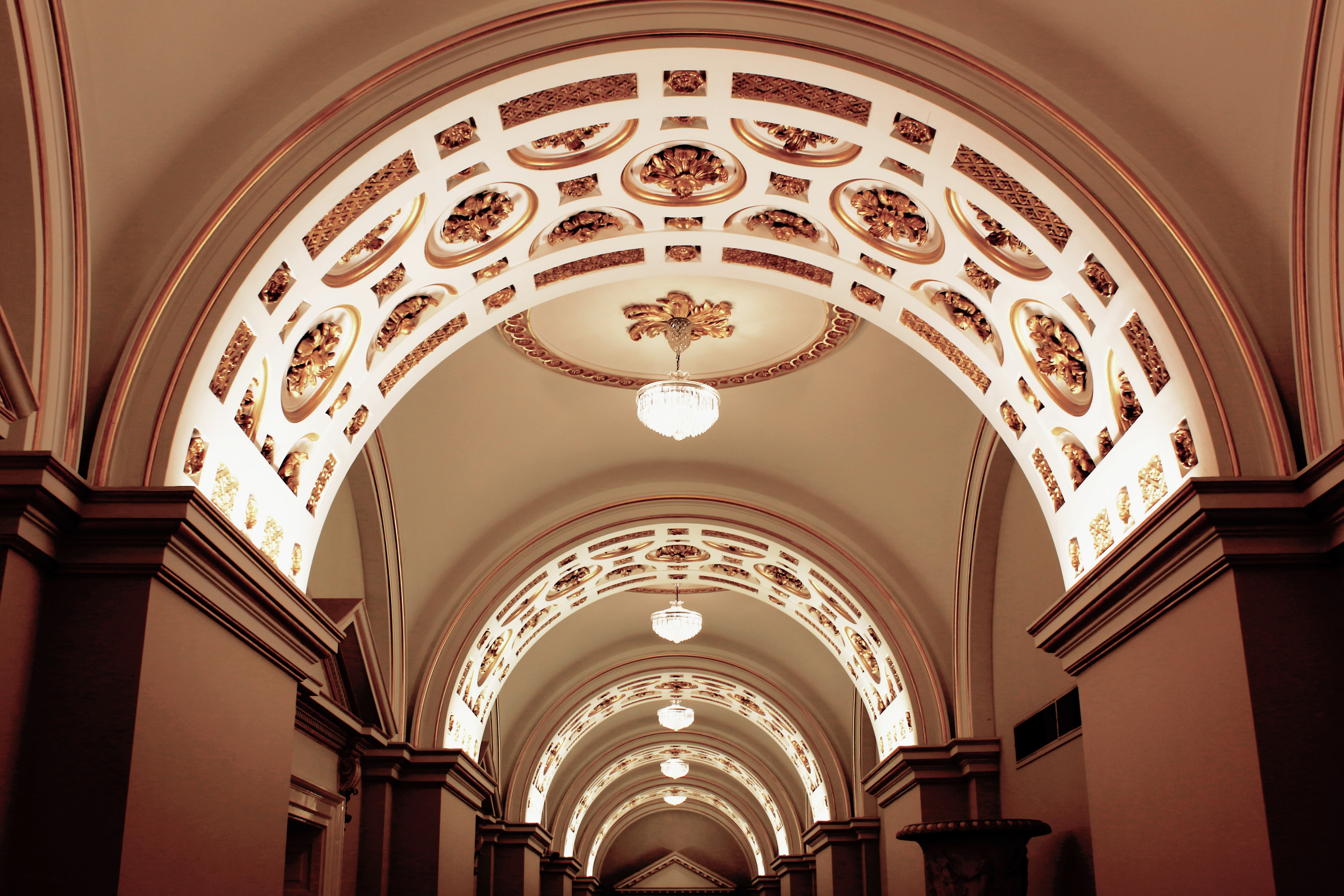 gray concrete lighted arch ceiling