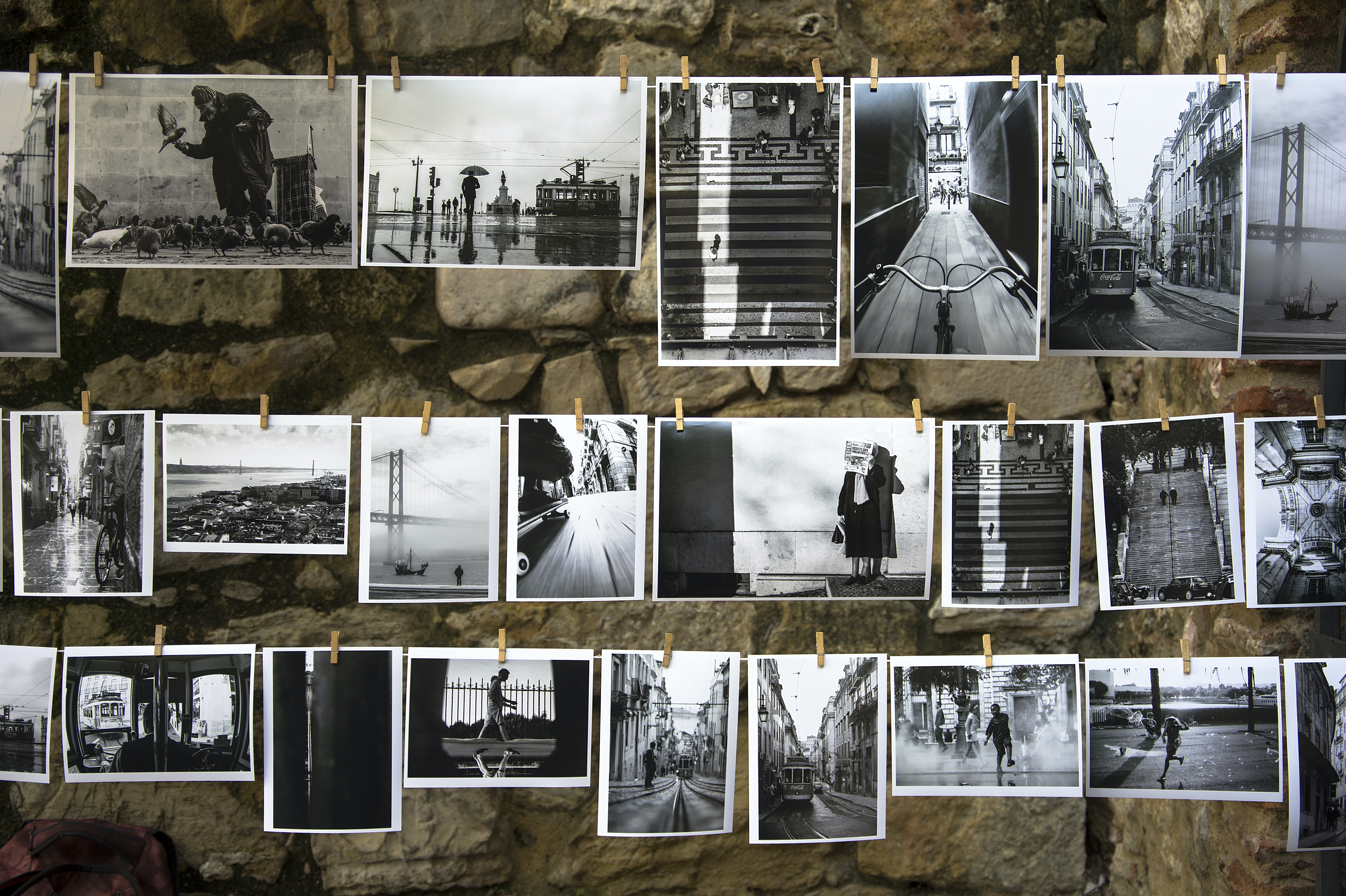 hanging grayscale photos