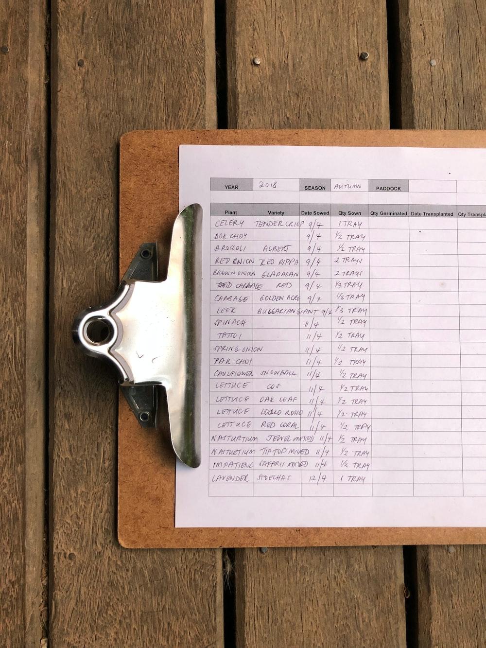 date organizer clipboard