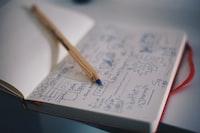 blue ballpoint pen on white notebook