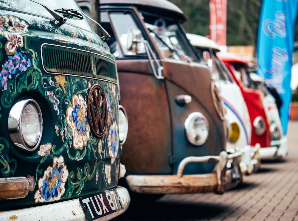 tilt shift lens photo of Volkswagen buses