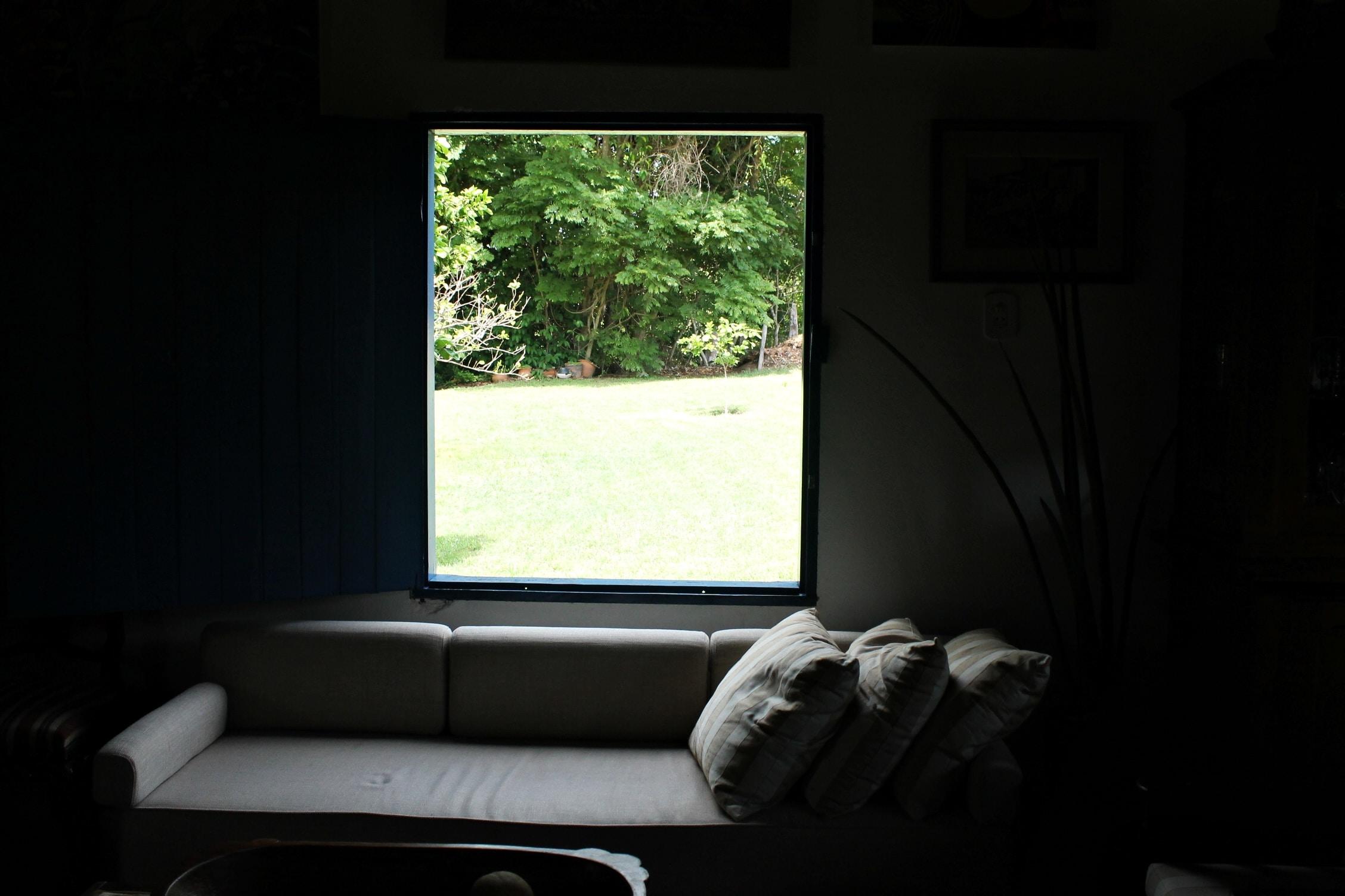 gray sofa inside room