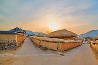 landscape of village houses during dusk