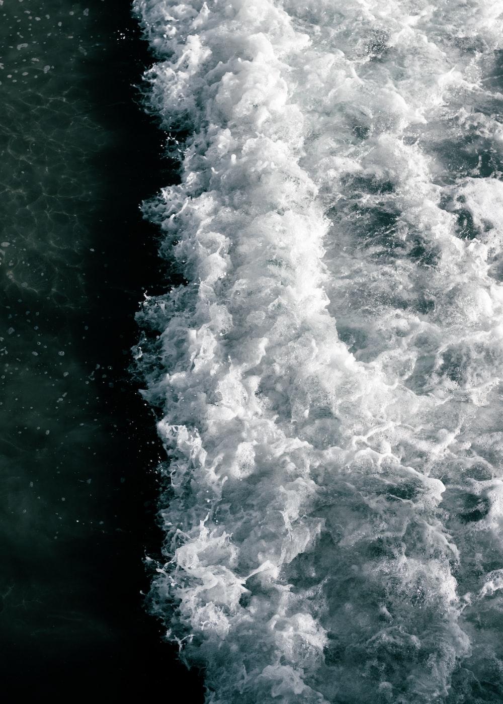 top view of crashing wave