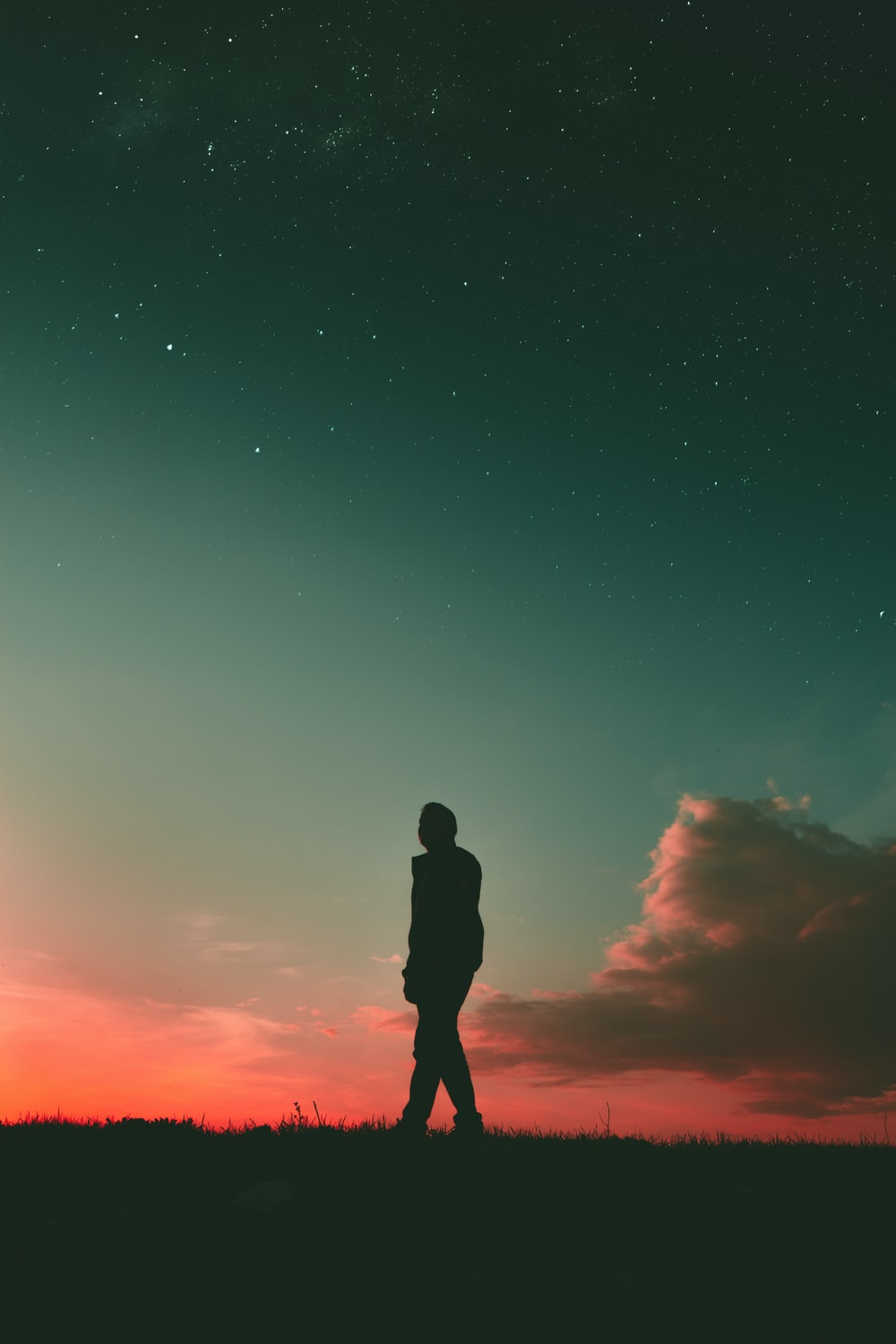 silhouette of man during sunset