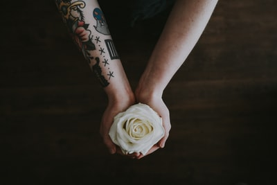 Tattoed arms holding a white rose