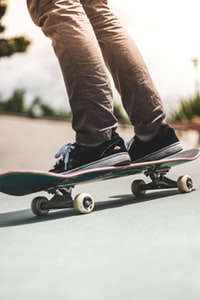 person riding on skateboard