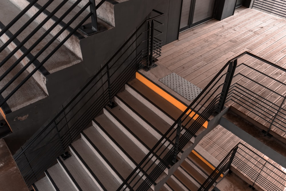 gray metal stair