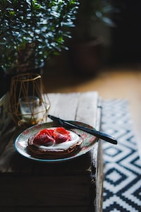 waffle with strawberries on plate