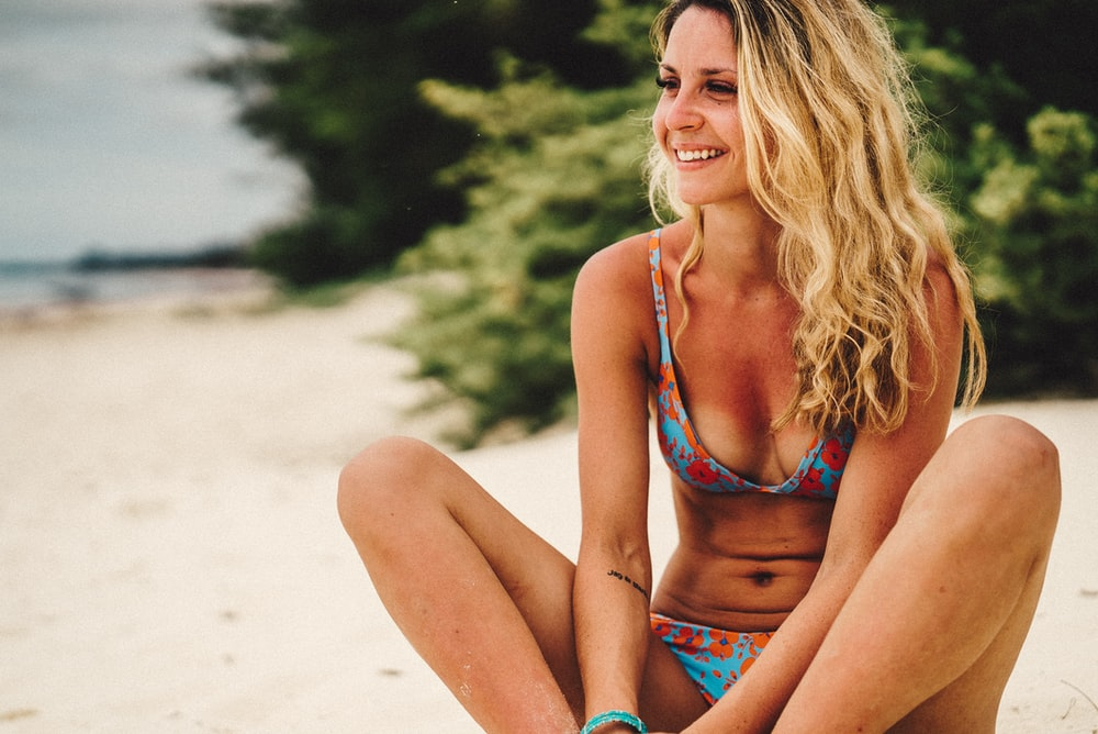 women's blue and orange floral bikini