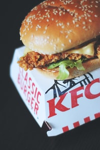 KFC hamburger and box