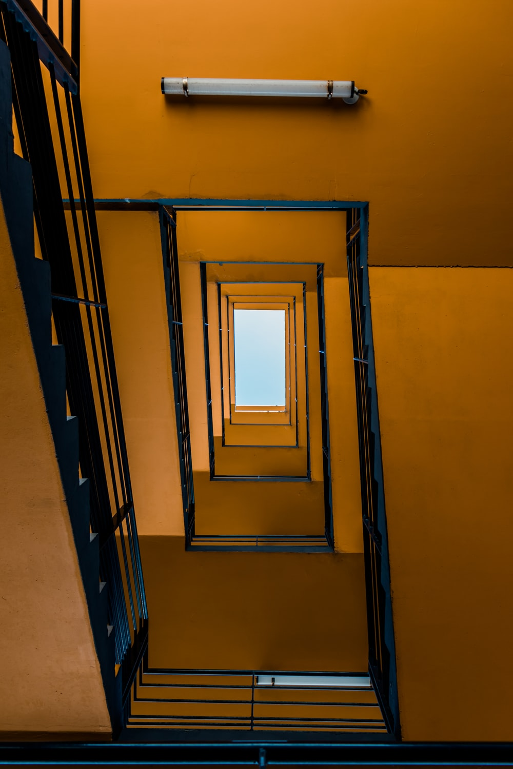 low angle photography of stairs