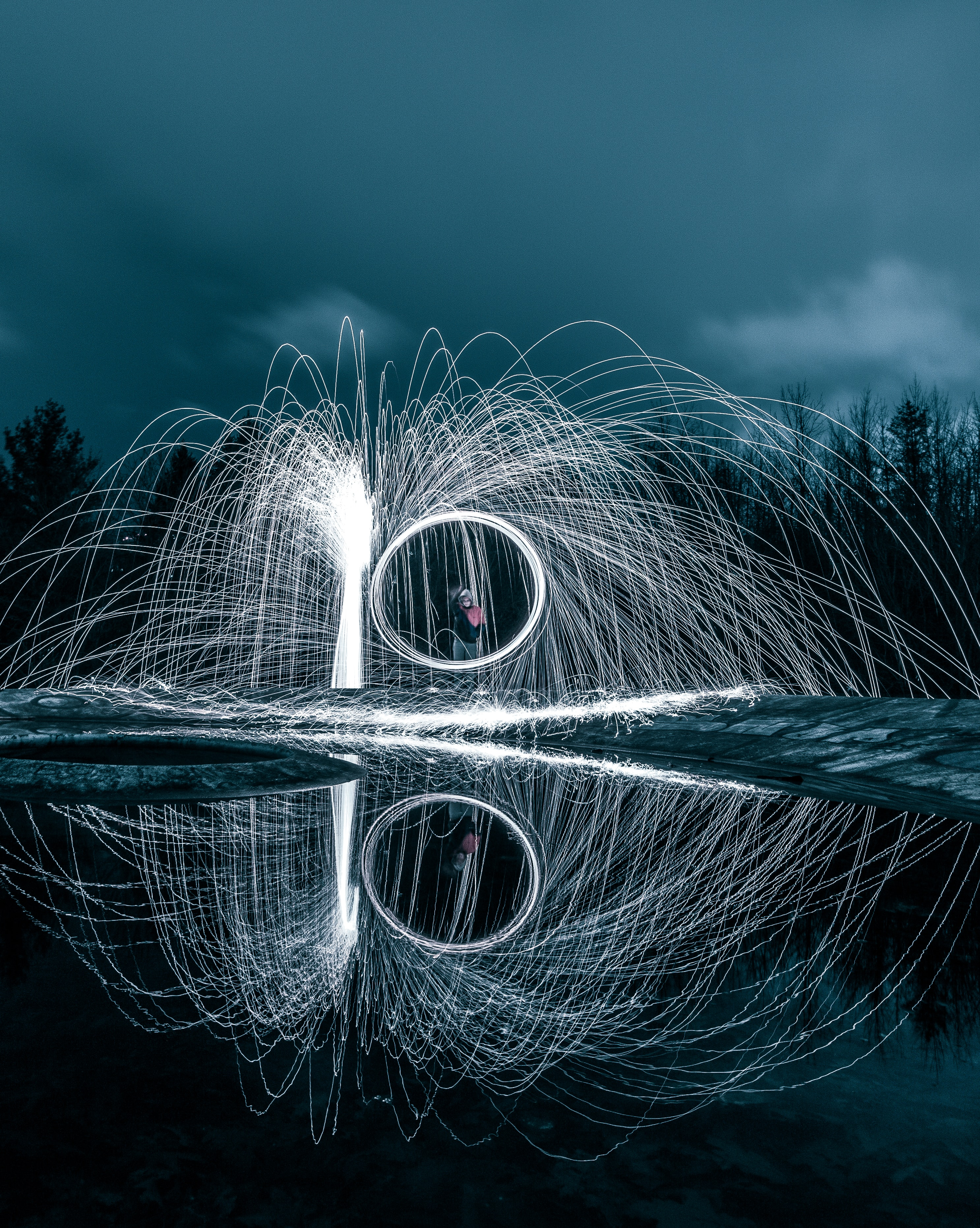 time-lapse photograph of sparkler