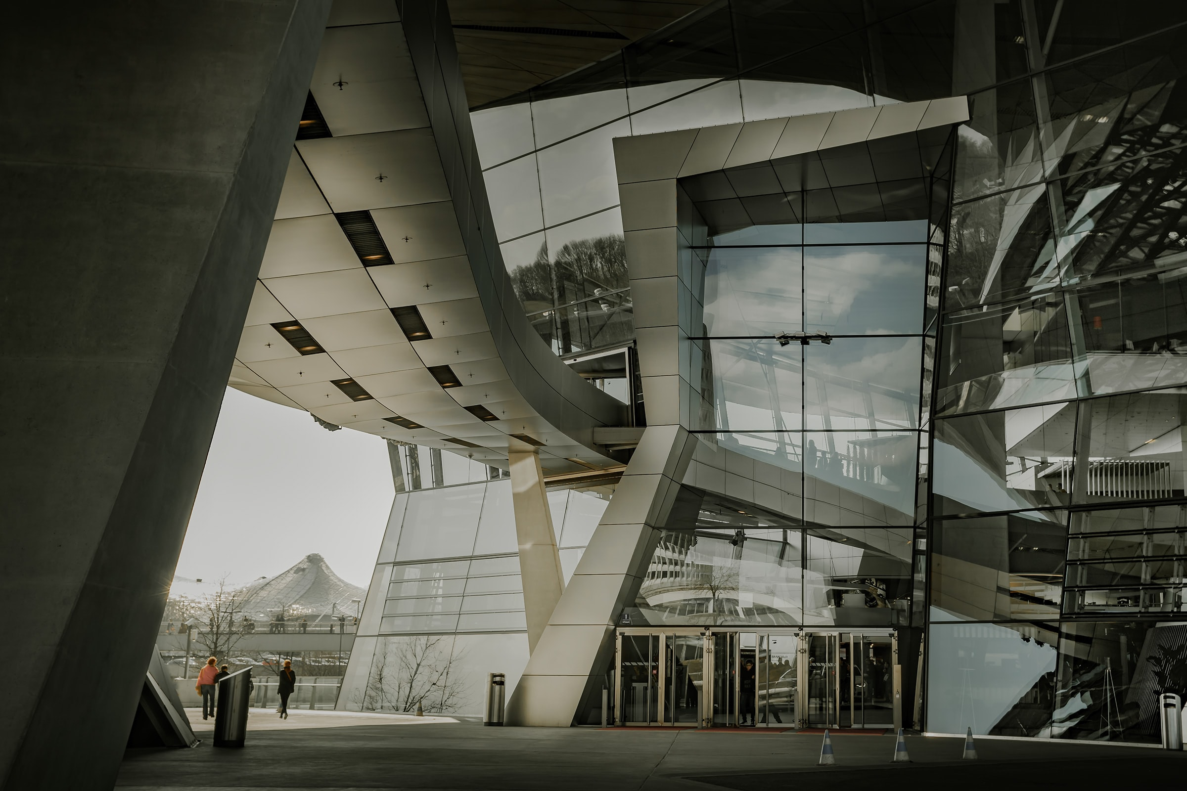 architectural photography of a gray building