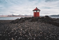 red light post near sea
