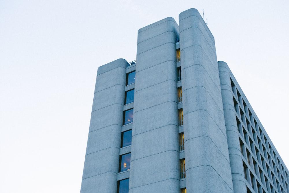 man's eyeview of multi-storey building
