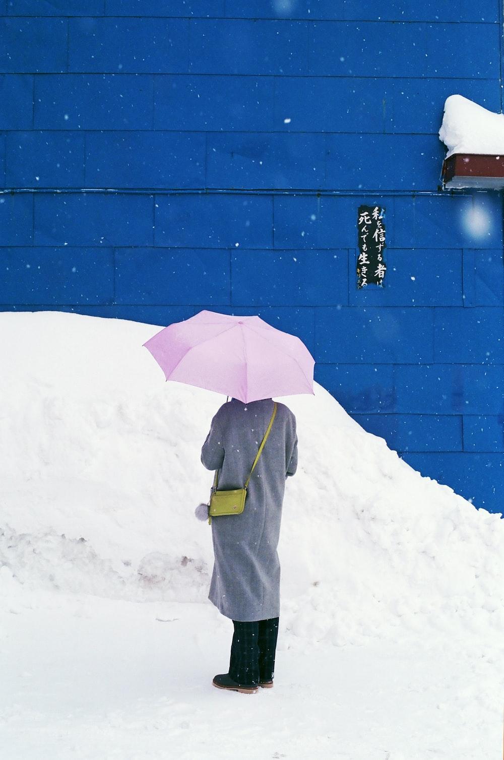 person holding white umbrella