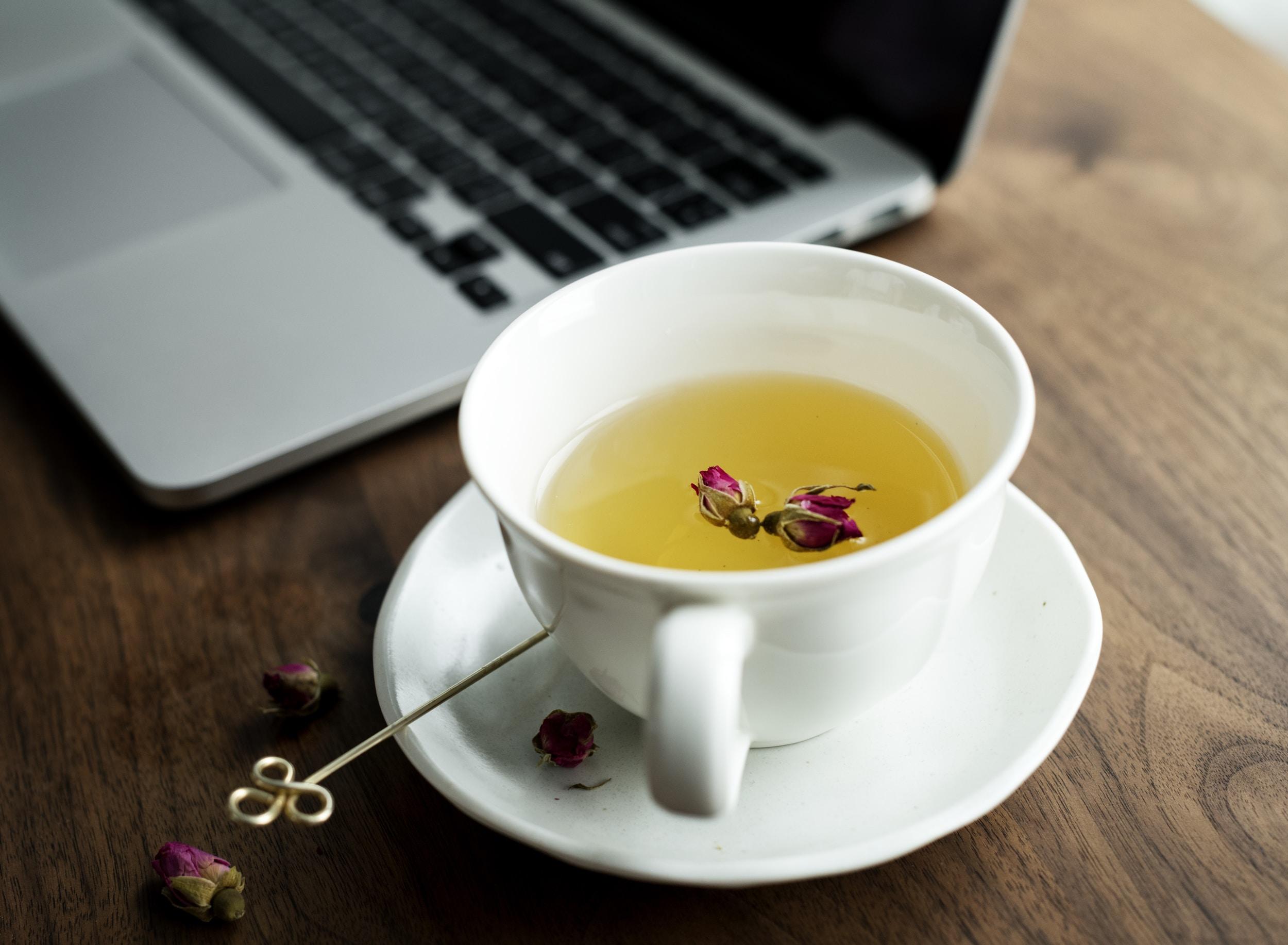 white teacup near silver MacBook