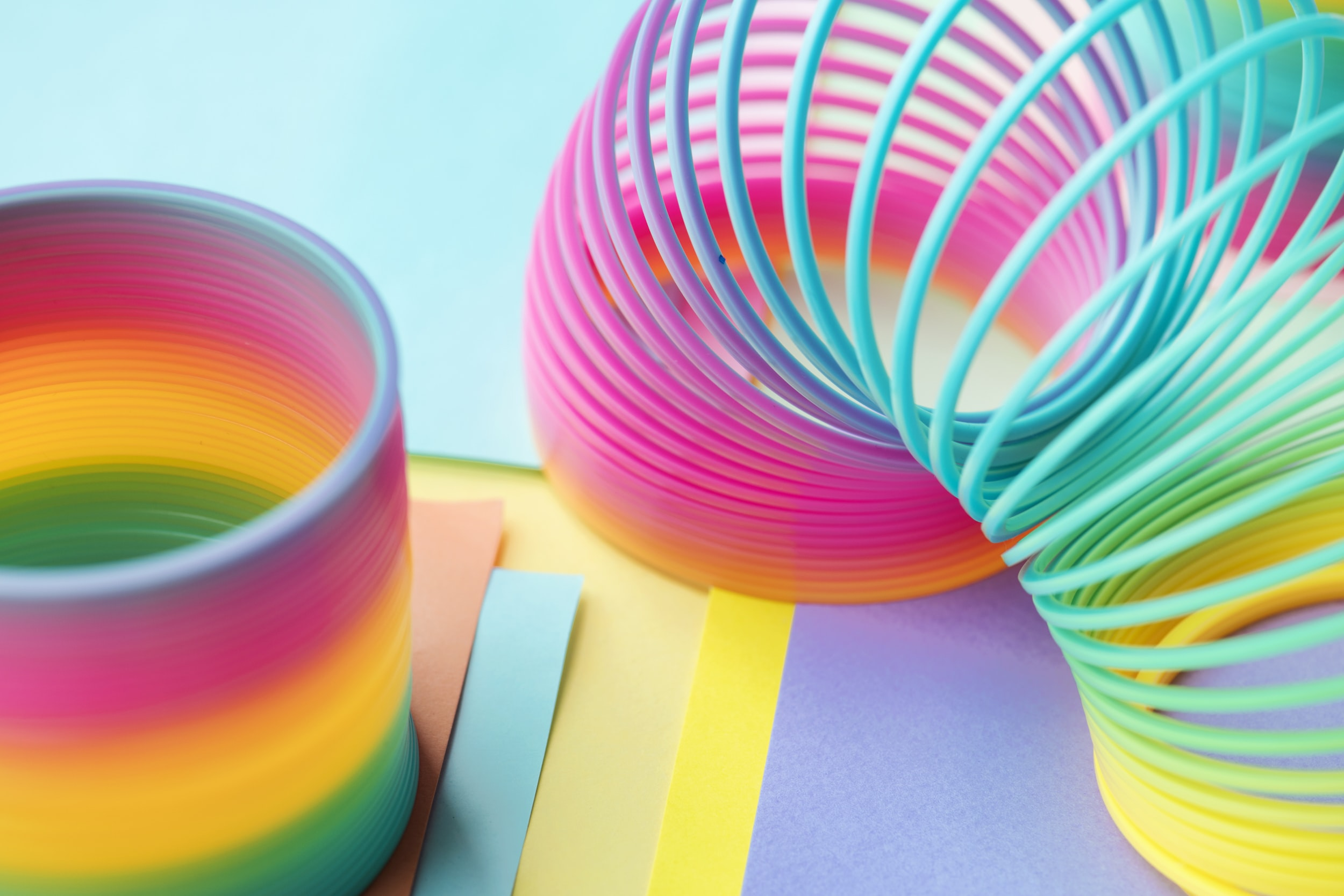 multicolored spring toys