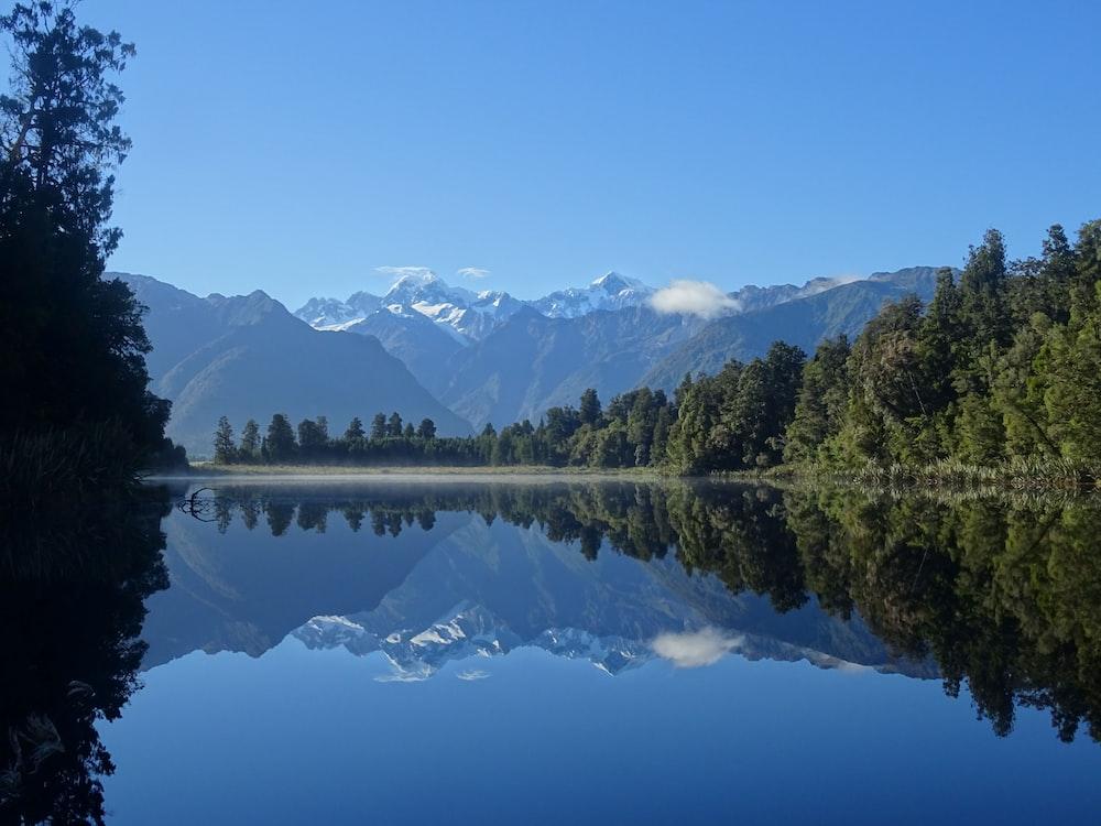 reflection landscape photography of lake